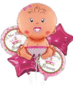 بادکنک هلیومی فویلی ۵ تکه نوزاد دختر