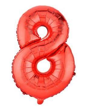 بادکنک فویلی عدد 8 قرمز