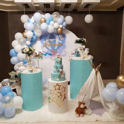 اجاره لوازم تولد-میز استوانه ای سه تکه آبی