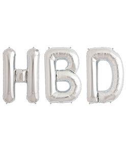 بادکنک حروف HBD نقره ای