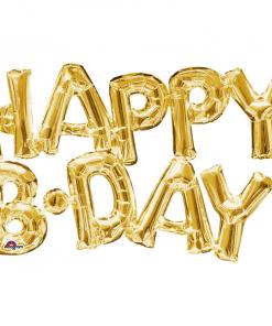 بادکنک حروف HAPPY B.DAY طلایی