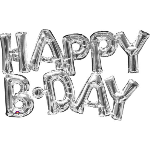 بادکنک حروف HAPPY B.DAY نقره ای
